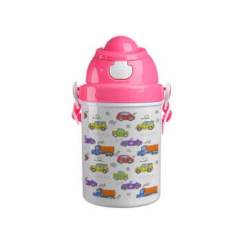 Αμαξάκια, Ροζ παιδικό παγούρι πλαστικό (BPA-FREE) με καπάκι ασφαλείας, κορδόνι και καλαμάκι, 400ml