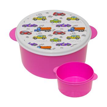 Αμαξάκια, ΡΟΖ παιδικό δοχείο φαγητού πλαστικό (BPA-FREE) Lunch Βox M16 x Π16 x Υ8cm