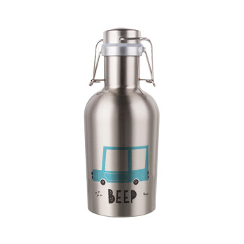 Car BEEP..., Μεταλλικό παγούρι Inox (Stainless steel) με καπάκι ασφαλείας 1L