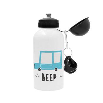 Car BEEP..., Μεταλλικό παγούρι ποδηλάτου, Λευκό, αλουμινίου 500ml