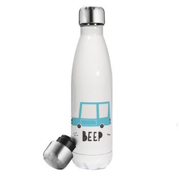 Car BEEP..., Μεταλλικό παγούρι θερμός Λευκό (Stainless steel), διπλού τοιχώματος, 500ml