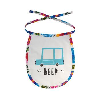 Car BEEP..., Σαλιάρα μωρού αλέκιαστη με κορδόνι Χρωματιστή