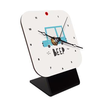 Car BEEP..., Επιτραπέζιο ρολόι ξύλινο με δείκτες (10cm)