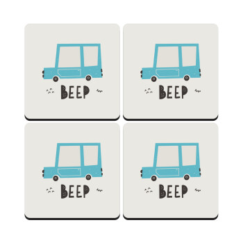 Car BEEP..., ΣΕΤ 4 Σουβέρ ξύλινα τετράγωνα