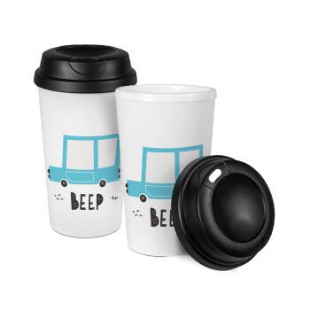 Car BEEP..., Κούπα ταξιδιού πλαστικό (BPA-FREE) με καπάκι βιδωτό, διπλού τοιχώματος (θερμό) 330ml (1 τεμάχιο)