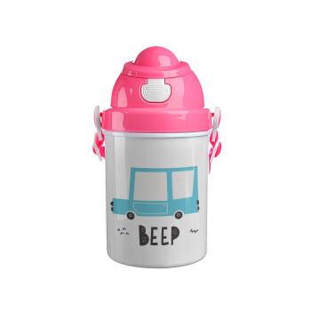 Car BEEP..., Ροζ παιδικό παγούρι πλαστικό (BPA-FREE) με καπάκι ασφαλείας, κορδόνι και καλαμάκι, 400ml