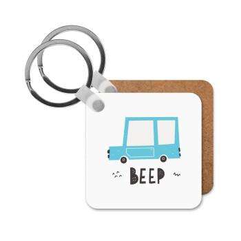 Car BEEP..., Μπρελόκ Ξύλινο τετράγωνο MDF 5cm (3mm πάχος)