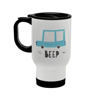 Car BEEP..., Κούπα ταξιδιού ανοξείδωτη με καπάκι, διπλού τοιχώματος (θερμό) λευκή 450ml