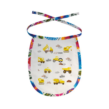 Αμαξάκια φορτωτές και μπουλντόζες, Σαλιάρα μωρού αλέκιαστη με κορδόνι Χρωματιστή