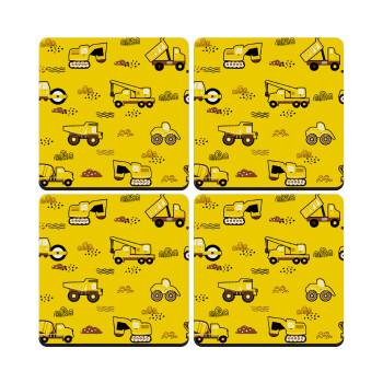 Αμαξάκια φορτωτές και μπουλντόζες, ΣΕΤ 4 Σουβέρ ξύλινα τετράγωνα