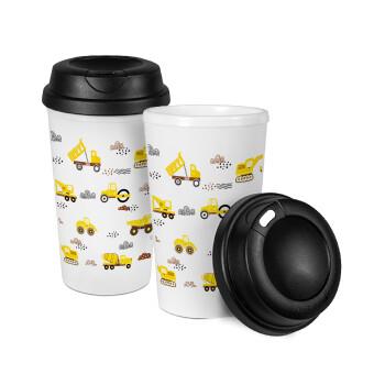 Αμαξάκια φορτωτές και μπουλντόζες, Κούπα ταξιδιού πλαστικό (BPA-FREE) με καπάκι βιδωτό, διπλού τοιχώματος (θερμό) 330ml (1 τεμάχιο)