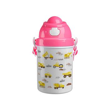 Αμαξάκια φορτωτές και μπουλντόζες, Ροζ παιδικό παγούρι πλαστικό (BPA-FREE) με καπάκι ασφαλείας, κορδόνι και καλαμάκι, 400ml
