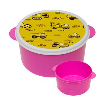 Αμαξάκια φορτωτές και μπουλντόζες, ΡΟΖ παιδικό δοχείο φαγητού πλαστικό (BPA-FREE) Lunch Βox M16 x Π16 x Υ8cm