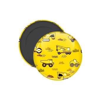Αμαξάκια φορτωτές και μπουλντόζες, Μαγνητάκι ψυγείου στρογγυλό διάστασης 5cm