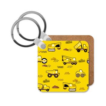 Αμαξάκια φορτωτές και μπουλντόζες, Μπρελόκ Ξύλινο τετράγωνο MDF 5cm (3mm πάχος)