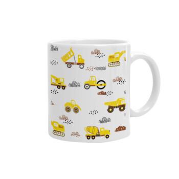 Αμαξάκια φορτωτές και μπουλντόζες, Κούπα, κεραμική, 330ml (1 τεμάχιο)