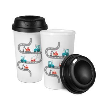 Αμαξάκια στον δρόμο, Κούπα ταξιδιού πλαστικό (BPA-FREE) με καπάκι βιδωτό, διπλού τοιχώματος (θερμό) 330ml (1 τεμάχιο)
