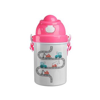 Αμαξάκια στον δρόμο, Ροζ παιδικό παγούρι πλαστικό (BPA-FREE) με καπάκι ασφαλείας, κορδόνι και καλαμάκι, 400ml