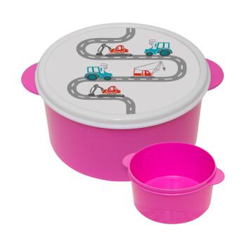 Αμαξάκια στον δρόμο, ΡΟΖ παιδικό δοχείο φαγητού πλαστικό (BPA-FREE) Lunch Βox M16 x Π16 x Υ8cm