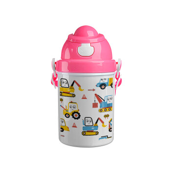 Hand drawing building truck, Ροζ παιδικό παγούρι πλαστικό (BPA-FREE) με καπάκι ασφαλείας, κορδόνι και καλαμάκι, 400ml
