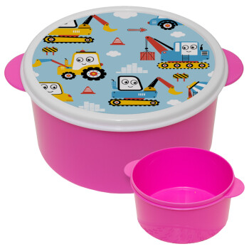 Hand drawing building truck, ΡΟΖ παιδικό δοχείο φαγητού πλαστικό (BPA-FREE) Lunch Βox M16 x Π16 x Υ8cm