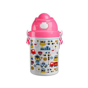 Rescue team cartoon, Ροζ παιδικό παγούρι πλαστικό (BPA-FREE) με καπάκι ασφαλείας, κορδόνι και καλαμάκι, 400ml