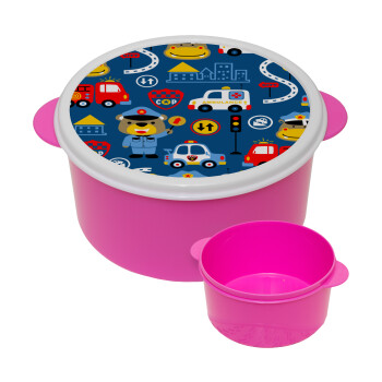 Rescue team cartoon, ΡΟΖ παιδικό δοχείο φαγητού πλαστικό (BPA-FREE) Lunch Βox M16 x Π16 x Υ8cm