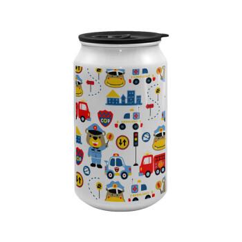 Rescue team cartoon, Κούπα ταξιδιού μεταλλική με καπάκι (tin-can) 500ml