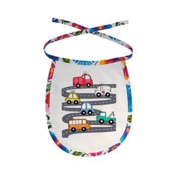 Hand drawn childish set with cars, Σαλιάρα μωρού αλέκιαστη με κορδόνι Χρωματιστή