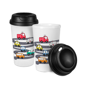Hand drawn childish set with cars, Κούπα ταξιδιού πλαστικό (BPA-FREE) με καπάκι βιδωτό, διπλού τοιχώματος (θερμό) 330ml (1 τεμάχιο)