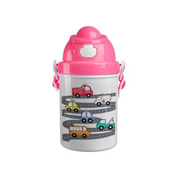 Hand drawn childish set with cars, Ροζ παιδικό παγούρι πλαστικό (BPA-FREE) με καπάκι ασφαλείας, κορδόνι και καλαμάκι, 400ml