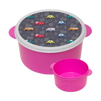 Hand drawn childish set with cars, ΡΟΖ παιδικό δοχείο φαγητού πλαστικό (BPA-FREE) Lunch Βox M16 x Π16 x Υ8cm