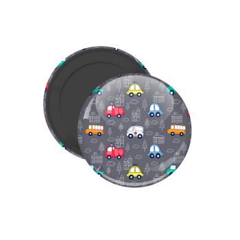 Hand drawn childish set with cars, Μαγνητάκι ψυγείου στρογγυλό διάστασης 5cm