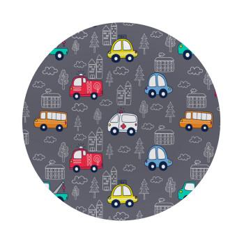 Hand drawn childish set with cars, Mousepad Στρογγυλό 20cm