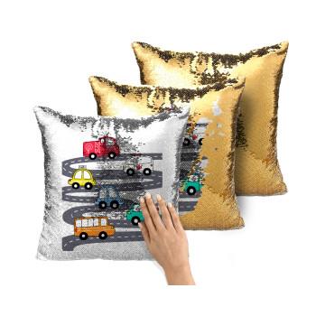 Hand drawn childish set with cars, Μαξιλάρι καναπέ Μαγικό Χρυσό με πούλιες 40x40cm περιέχεται το γέμισμα