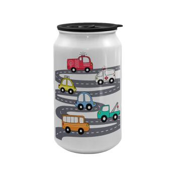 Hand drawn childish set with cars, Κούπα ταξιδιού μεταλλική με καπάκι (tin-can) 500ml