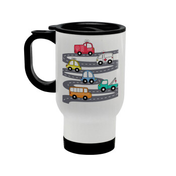 Hand drawn childish set with cars, Κούπα ταξιδιού ανοξείδωτη με καπάκι, διπλού τοιχώματος (θερμό) λευκή 450ml