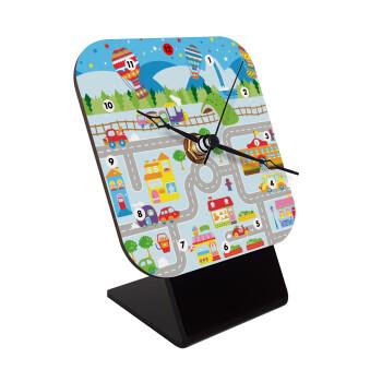 City road track maps, Επιτραπέζιο ρολόι ξύλινο με δείκτες (10cm)