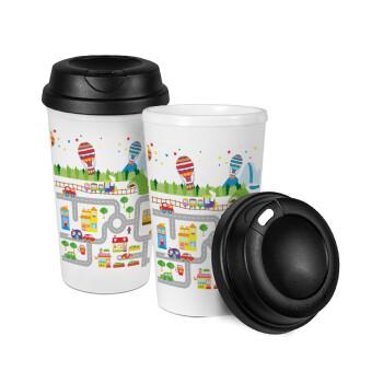 City road track maps, Κούπα ταξιδιού πλαστικό (BPA-FREE) με καπάκι βιδωτό, διπλού τοιχώματος (θερμό) 330ml (1 τεμάχιο)