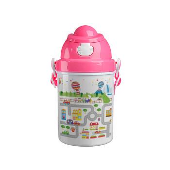 City road track maps, Ροζ παιδικό παγούρι πλαστικό (BPA-FREE) με καπάκι ασφαλείας, κορδόνι και καλαμάκι, 400ml