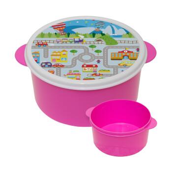 City road track maps, ΡΟΖ παιδικό δοχείο φαγητού πλαστικό (BPA-FREE) Lunch Βox M16 x Π16 x Υ8cm