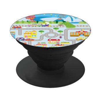 City road track maps, Pop Socket Μαύρο Βάση Στήριξης Κινητού στο Χέρι