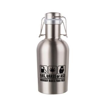 Gas, Grass or Ass, Μεταλλικό παγούρι Inox (Stainless steel) με καπάκι ασφαλείας 1L