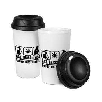 Gas, Grass or Ass, Κούπα ταξιδιού πλαστικό (BPA-FREE) με καπάκι βιδωτό, διπλού τοιχώματος (θερμό) 330ml (1 τεμάχιο)