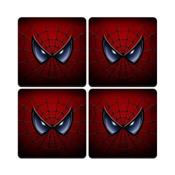 Spiderman mask, ΣΕΤ 4 Σουβέρ ξύλινα τετράγωνα