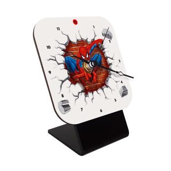 Spiderman wall, Επιτραπέζιο ρολόι ξύλινο με δείκτες (10cm)