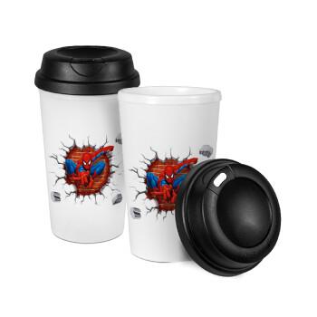 Spiderman wall, Κούπα ταξιδιού πλαστικό (BPA-FREE) με καπάκι βιδωτό, διπλού τοιχώματος (θερμό) 330ml (1 τεμάχιο)