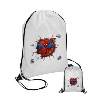 Spiderman wall, Τσάντα πουγκί με μαύρα κορδόνια 45χ35cm (1 τεμάχιο)