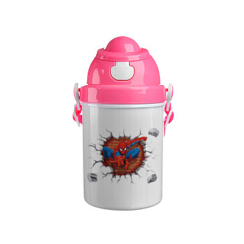 Spiderman wall, Ροζ παιδικό παγούρι πλαστικό (BPA-FREE) με καπάκι ασφαλείας, κορδόνι και καλαμάκι, 400ml