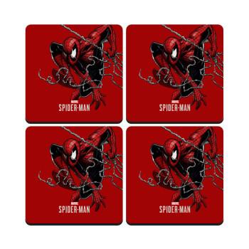 Spider-man, ΣΕΤ 4 Σουβέρ ξύλινα τετράγωνα